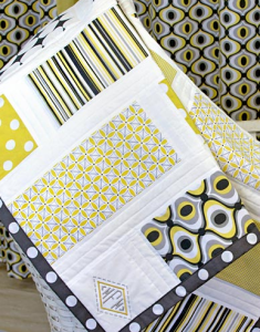 Michael Miller Fabrics' Citron-Gray Nursery: Patchwork Baby Quilt with Monogram
